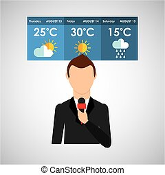 reporter man weather forecast news design