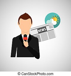 reporter man weather forecast news meteorologist design