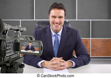 Reporter on TV - tv studio camera recording male reporter or...
