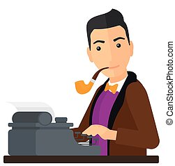 Reporter working at typewriter. - A reporter writing an...