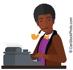 Reporter working at typewriter. - An african-american...