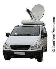 reportero de la televisión, satélite, camión, plato, ...