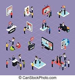 Reporters Isometric Icons Set