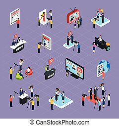 Reporters Isometric Icons Set - Reporters isometric icons...