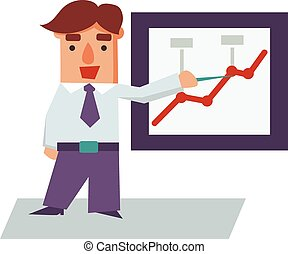 Reporting Business Man Cartoon Character Vector Illustration