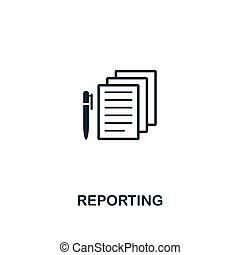 Reporting icon. Premium style design from business management icon collection. Pixel perfect Reporting icon for web design, apps, software, print usage
