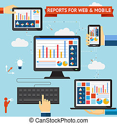 Reports for web and mobile vector set with colorful displays...