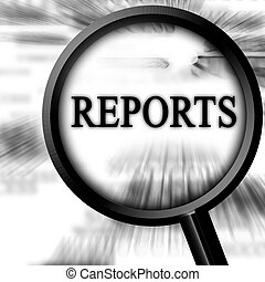 reports on a white background with a magnifier