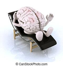 repos, cerveau, longue, chaise