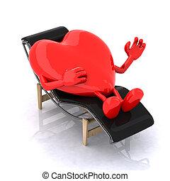 repos, coeur, longue, chaise