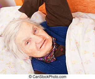 repos, solitaire, femme, lit, personnes agées