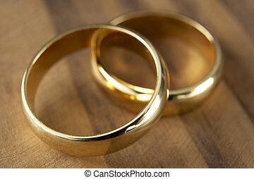 reposer, anneaux, deux, ensemble, mariage
