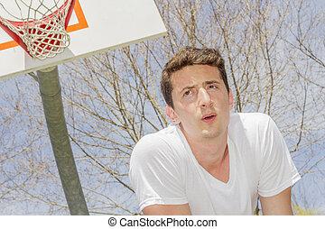 reposer, athlète, basket-ball