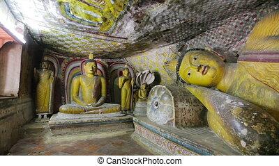 reposer, caverne, bouddha, statue