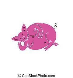reposer, chinois, mignon, caractère, pig., cochon, year., resting., nouveau, dessin animé