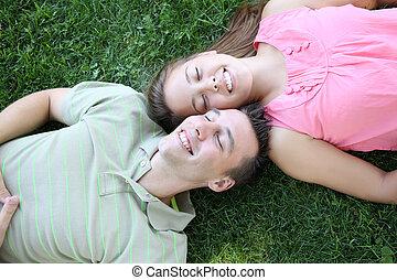 reposer, couple, parc