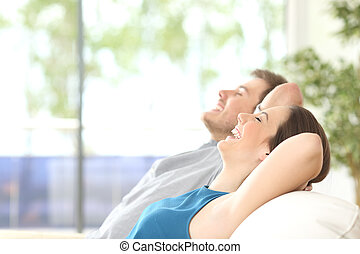 reposer, couple, respiration, maison