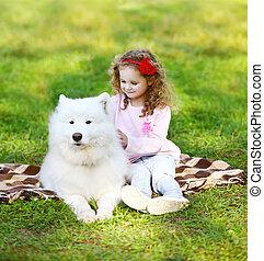 reposer, ensoleillé, chien, chaud, enfant, herbe, jour