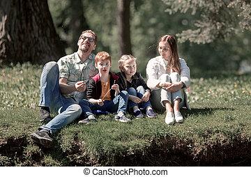 reposer, famille, été, parc, day., heureux