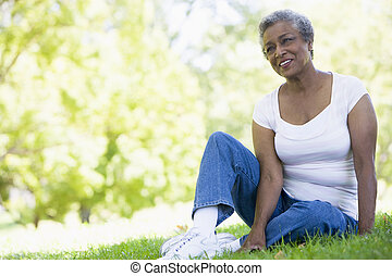 reposer, femme aînée, parc