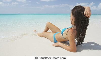 reposer, femme, séduisant, fetes, vacances plage, voyage