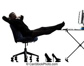 reposer, femme, silhouette, pause, business