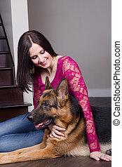 reposer, femme souriante, chien, elle