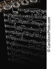 reposer, flûte, instrument, partition, musique, argent
