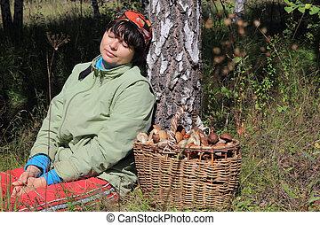 reposer, girl, après, champignon