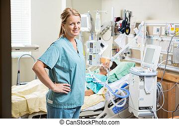 reposer, hôpital, patient, infirmière, confiant