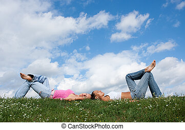 reposer, herbe, filles