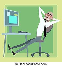 reposer, informatique, homme affaires, bureau, africaine