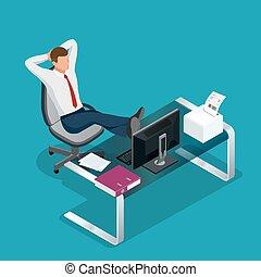 reposer, isométrique, bureau, plat, illustration, vecteur, employé, 3d