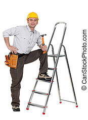 reposer, jambe, échelle, charpentier, tenue, marteau