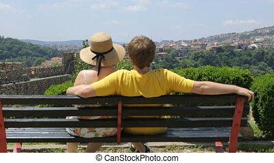 reposer, jour, couple, banc, été