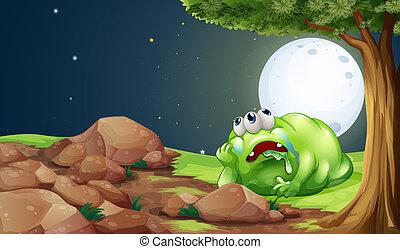 reposer, monstre, fatigué, sous, arbre, illustration, milieu...