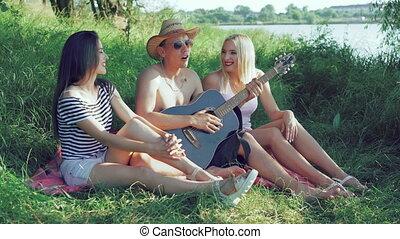 reposer, nature, trois, 4k, singing., amis