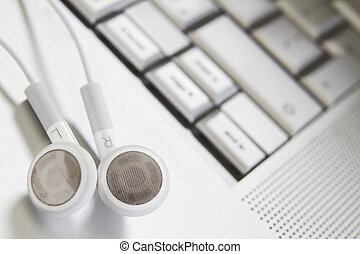 reposer, ordinateur portable, écouteurs