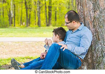 reposer, père, sous, arbre, fils, village