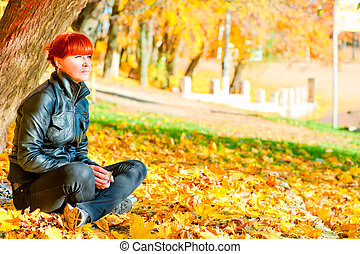 reposer, parc, cheveux, érable, girl, rouges