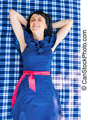 reposer, parc, tapis, girl, robe, heureux