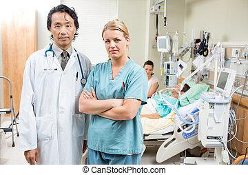 reposer, patient, docteur, hôpital, confiant, infirmière