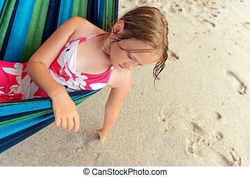 reposer, peu, adorable, hamac, girl, plage