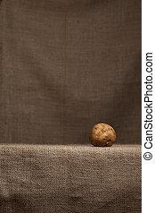 reposer, pomme terre, hessian, (burlap)