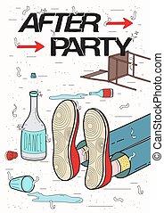 reposer, poster., illustration., coloré, fatigué, afterparty, ivre, placard., boire., fête, type, rigolote, endormi