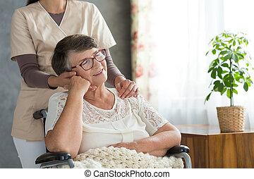 reposer, retraité, après, rééducation