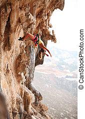 reposer, rocher, corde, quoique, femme, pendre, grimpeur