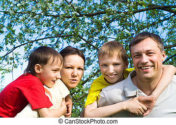 reposer, sourire, famille, heureux