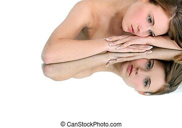 reposer, tête, femme, elle, bras, miroir