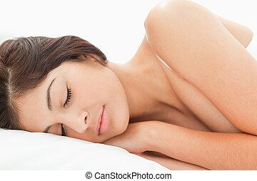 reposer, tête, femme, elle, dormir, lit, oreiller
